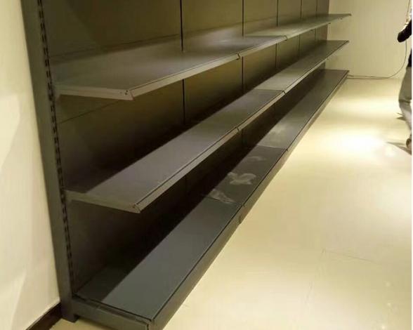 单面超市货架磨砂黑四层