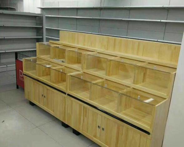 木质货架带储物柜